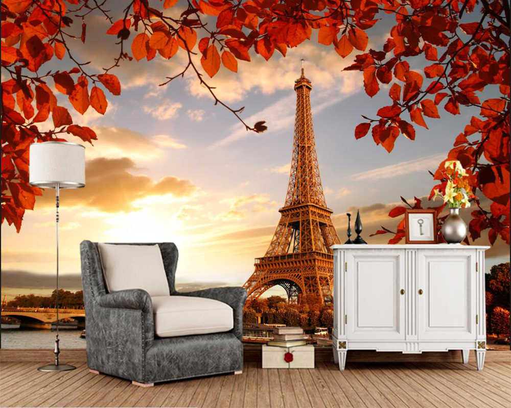 Papel de parede Autumn Eiffel Tower Paris photo Leaf 3d wallpaper,living room TV sofa wall bedroom wall papers home decor mural