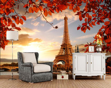 Papel de parede Autumn Eiffel Tower Paris photo Leaf 3d wallpaper,living room TV sofa wall bedroom wall papers home decor mural(China)