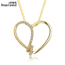 DreamCarnival 1989 Rhodium Gold Color Heart Pendant Necklace of Bijouterie Women Crystal Drop Ship Jewelry Bijoux Femme 18N1006(China)