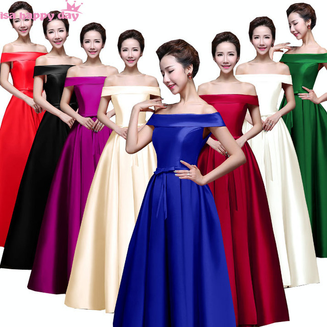 Long Black Satin Floor Length Sleeveless Off The Shoulder Red Bridesmaids Dresses For Princess Bridesmaid