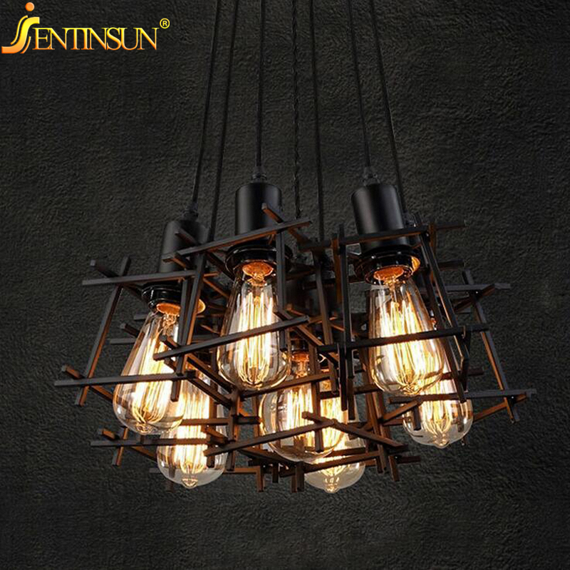 Loft Creative Metal Cage Pendant Light Retro Wrought Iron Lamps Industrial Vintage Hollowed Lights Hanging Lamp For Bar Cafes american art creative retro vintage pendant lights spring iron hanging pendant lamp indoor iron black pendant lamp light