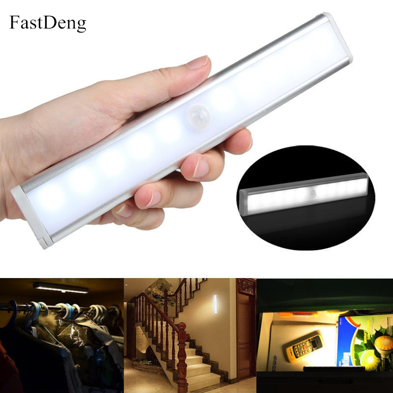 Motion Sensor LED Under Cabinet Kitchen Light 6/10 LEDs Bedroom Wardrobe Closet Night Lights LED Bar Light For Home Lighting