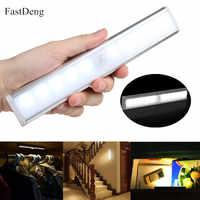 Motion Sensor LED Under Cabinet Kitchen Light 6/10 LEDs Bedroom Wardrobe Closet Night Lights LED Bar Light for Home Lighting