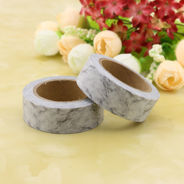 1X DIY Japanese Paper Marble Washi Tape White Paper Masking Tapes Adhesive Tapes Stickers Decorative Stationery Tape 1.5cm*10m