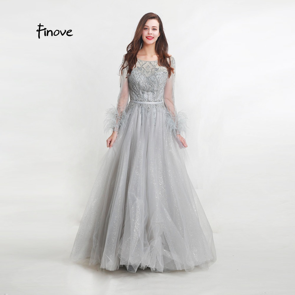 Finove 2019 New Evening Dresses Elegant Shining Floor Length Beading and Feathers Formal Gowns Party Dresses