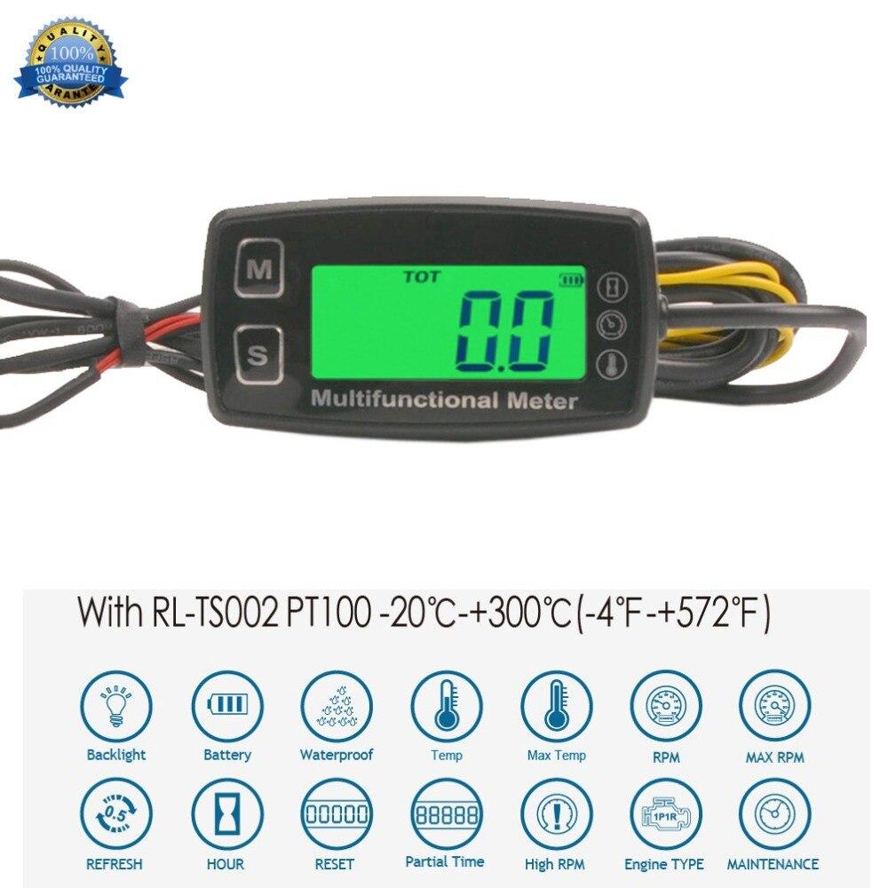 Numérique LCD tach Compteur Horaire thermomètre temp mètre pour moteur à gaz moto marine jet bateau buggy tracteur pit bike paramoteur