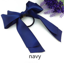 Double Satin Bow Ribbon Hair Band Fashion Girl Ponytail Tie Solid Headwear Accessories