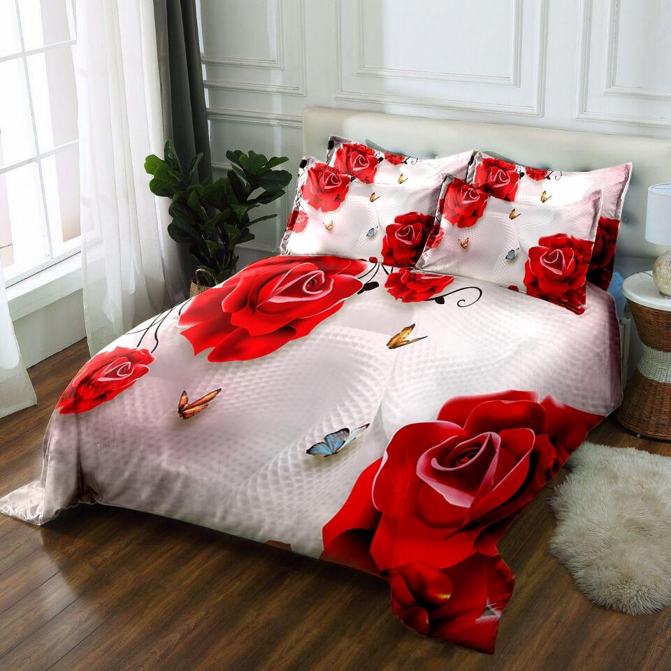 Floral Bedding 3D Bedsheet Pillowcase Duvet Bed Cover Twin Full King Queen  California King Bed Linen Textiles Drop Ship Print