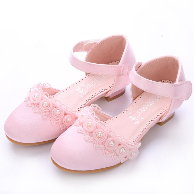 Toddler Girl Pu Leather Silk Sandal Little Kids Pageant Bridesmaid Wedding Flats Big Child Heeled Mary Jane Princess Dress Shoes