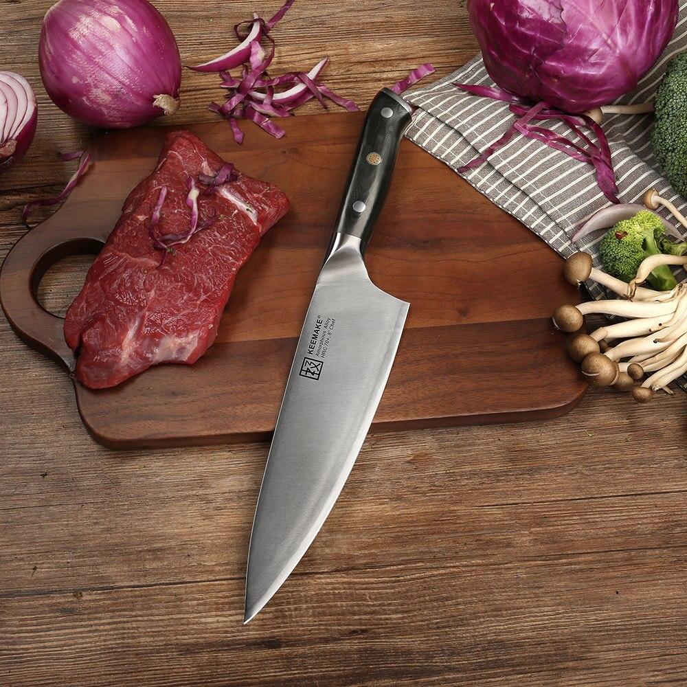 SUNNECKO 8 pouces Chef Couteau Métal Liquide Lame 70HRC Forte Dureté Couteau de Cuisine G10 + S/S Poignée haute Qualité Cuisson Cutter