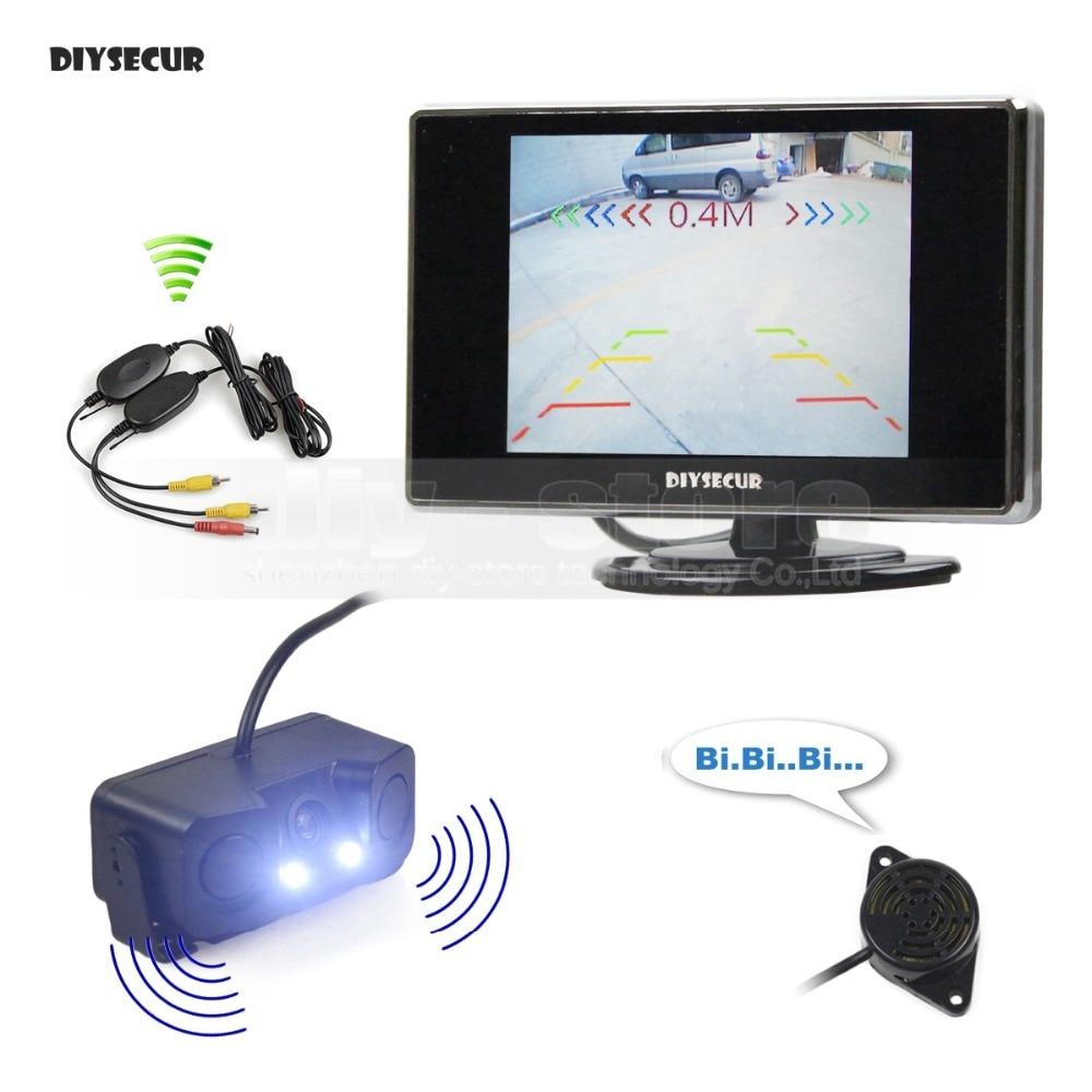 Moniteur de voiture DIYSECUR 3.5 pouces TFT LCD + capteur de Radar de stationnement vidéo étanche système d'aide au stationnement pour caméra de recul