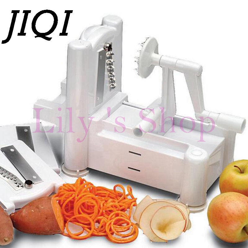 3 in 1 Vegetable Fruit Spiral Slicer portable Spiralizer manual Chopper Cutter Twister hand apple Peeler Kitchen slicing machine multi functional portable slicer peeler shredder white