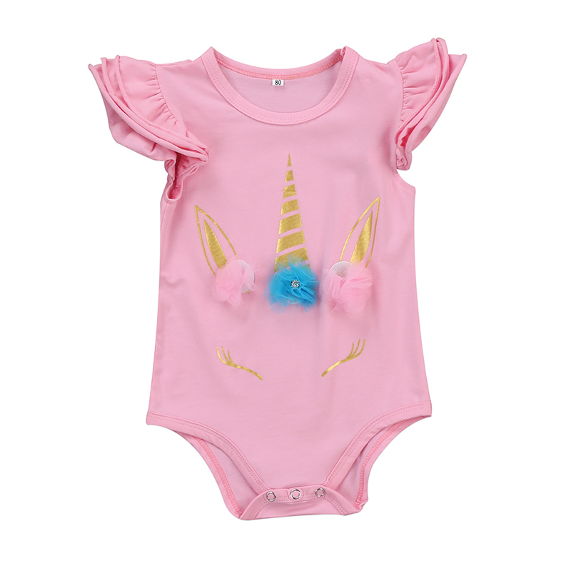 Unicorn Newborn Infant Baby Girl Romper Bodysuit Cute Applique Sleeveless Sunsuit Outfit Clothes 0-18M Robe Bebes Fille 4pcs set newborn baby clothes infant bebes short sleeve mini mama bodysuit romper headband gold heart striped leg warmer outfit
