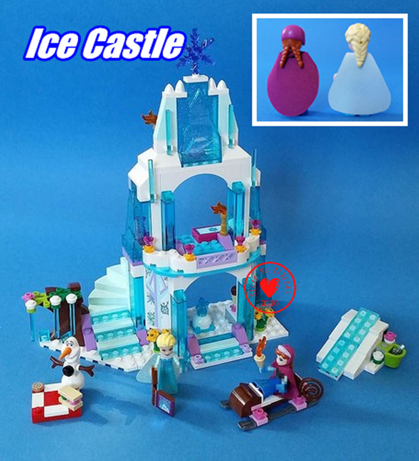2018 New 316pcs Dream Princess Elsa Ice Castle Princess Anna Model Building Blocks Toys compatible legoes Friends gifts kid Set new lepin 16008 cinderella princess castle city model building block kid educational toys for children gift compatible 71040