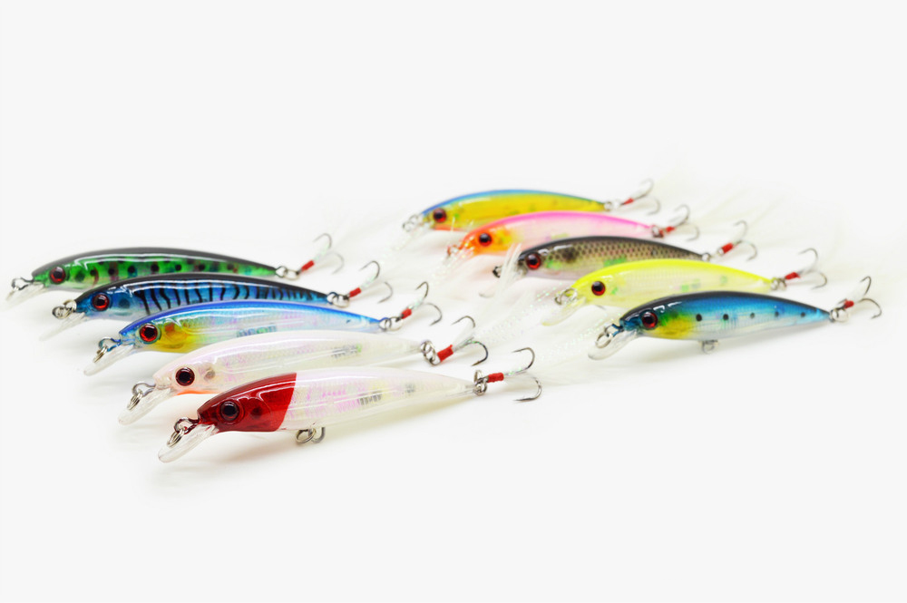 10 PCS Special offer lures Mino fishing bait with laser shot in feather hook fishing gear set full set