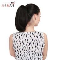 """SARLA 13 """"krótkie proste szczęka klip w kucyk przedłużanie włosów wysokiej temperatury włókna syntetyczne Hairpiece 120g P003"""