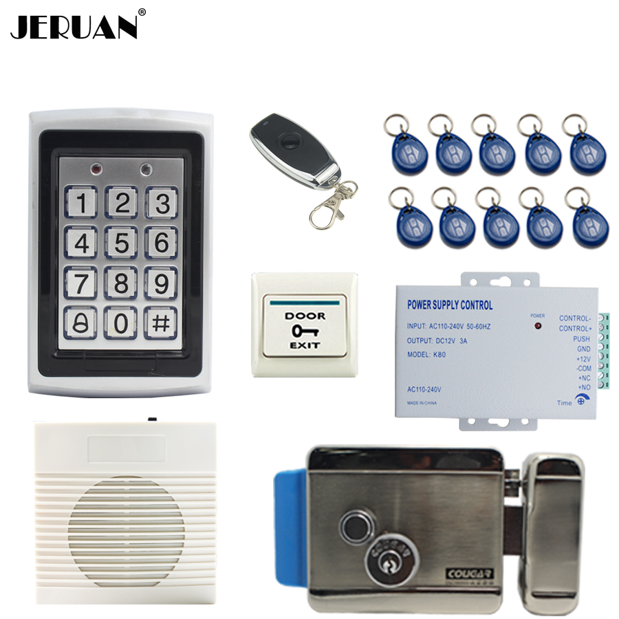 JERUAN Metal Waterproof Backlight button RFID Access Controller system kit+new doorbell+Remote control+Exit Button Free shipping подвесная люстра globo genoveva iv 69024 3