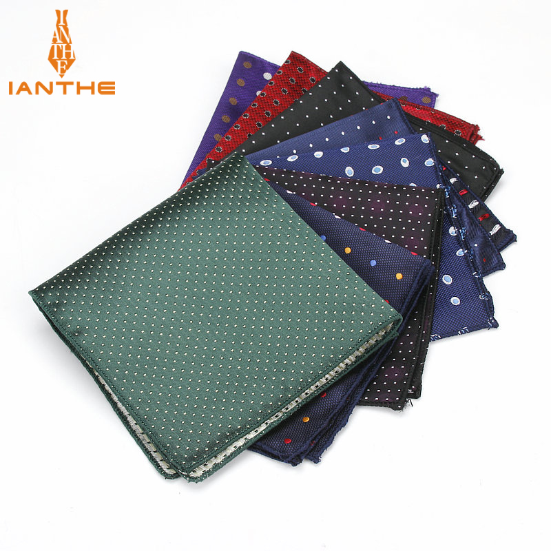Luxury Men's Handkerchief Polka Dot Floral Wowen Jacquard Hankies Polyester Hanky Business Pocket Square Chest Towel 23*23CM