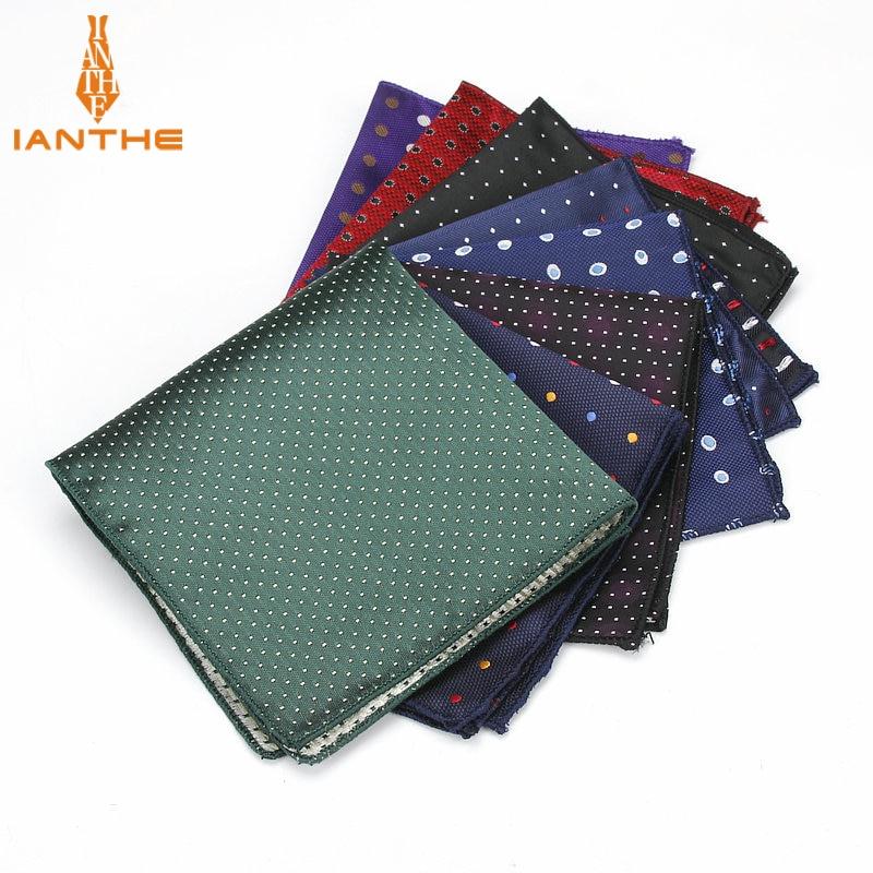 Luxury Men's Handkerchief Polka Dot Floral Wowen Jacquard Hankies Polyester Hanky Business Pocket Square Chest Towel 23*23CM