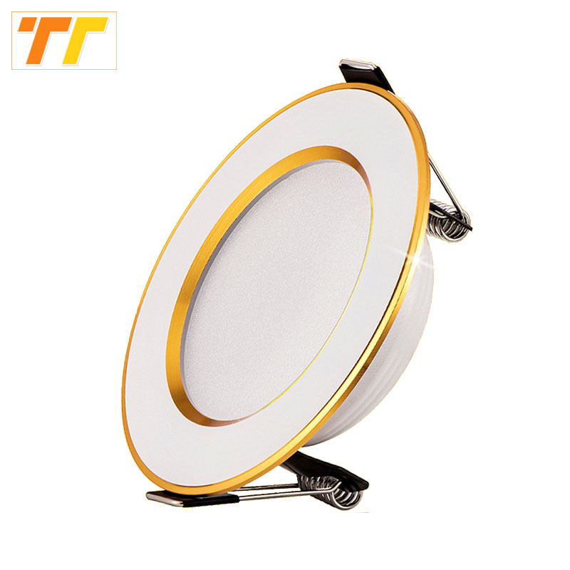 led downlight Golden circle 3w 5w 9w 12w 15w 18w 230V 220V ceiling recessed grid downlight round led panel light free shipping(China)