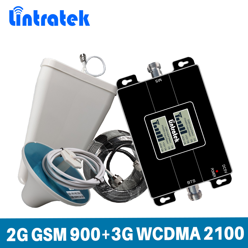 Lintratek Signal Booster GSM 900 3G 2100Mhz WCDMA Signal Repeater 2G 3G Ampli CellPhone Booster 900 2100 GSM UMTS 65dB KW17L-GW