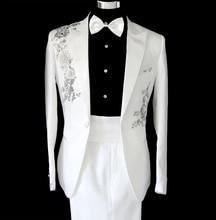 Formal dress men slim suits paillette fashion men's black white clothing flower stage show performance clothing set blazer