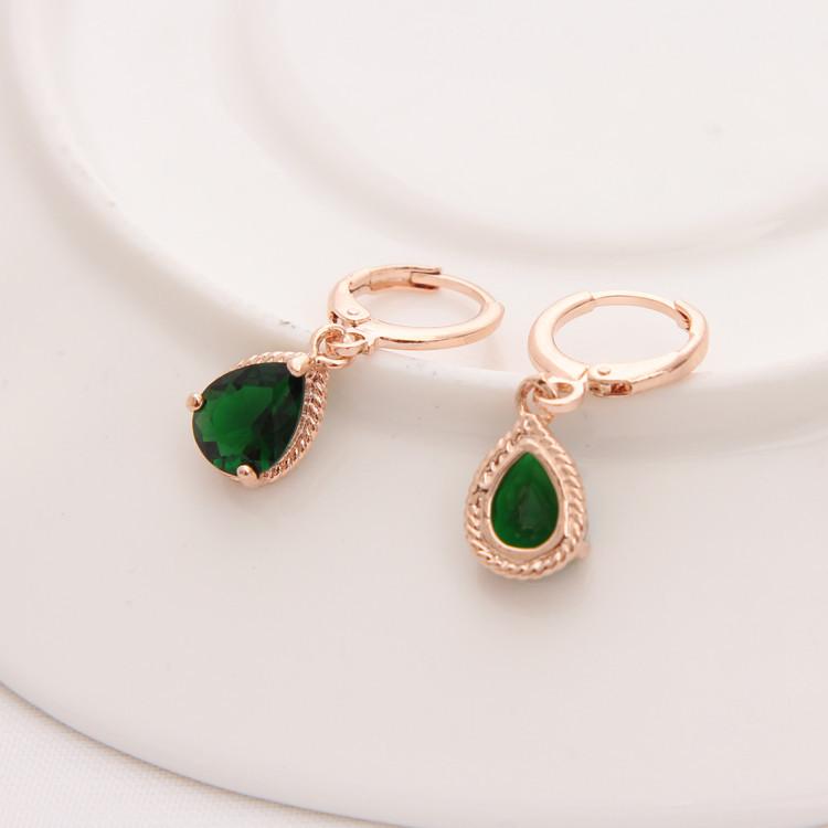 Gold Color Earrings Green Water Drop CZ Stone Pierced Dangle Earrings Women/Girls Long Drop Earrings fashion jewelry 11