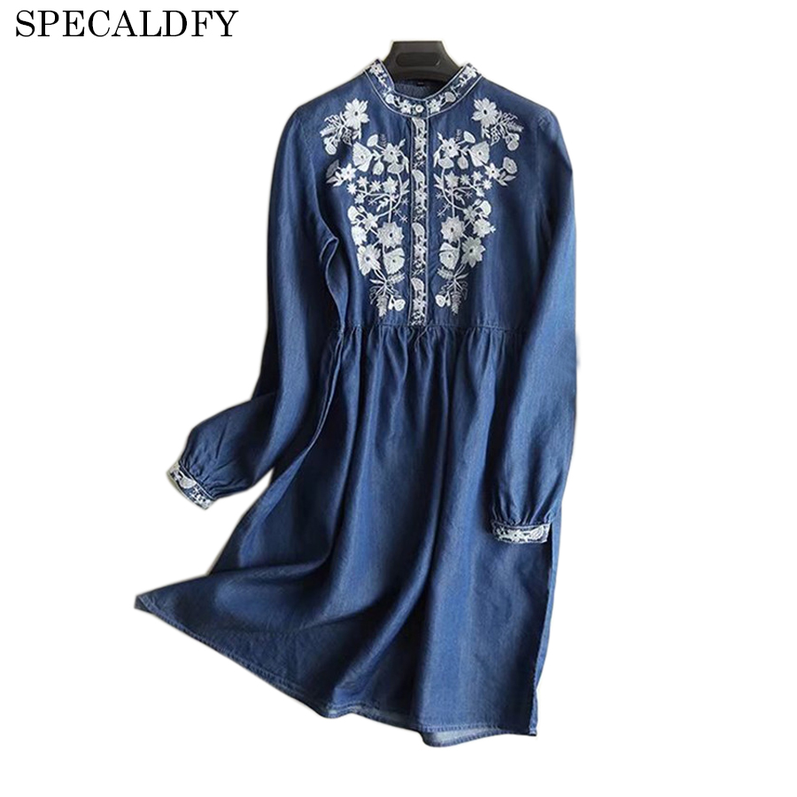2018 Spring Denim Dresses Women Long Sleeve Embroidery Retro ...