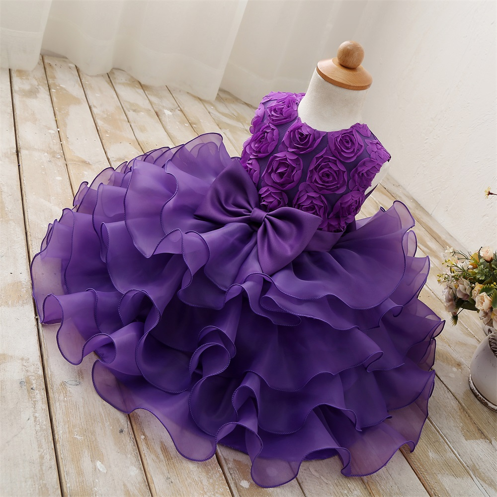 Flower Girl Purple Dress For Wedding Kids Clothes Party ...