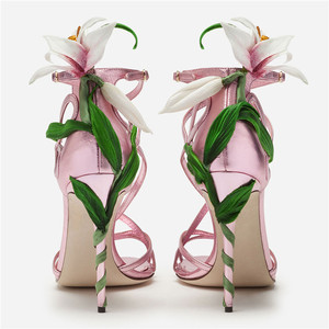 Image 5 - Luxury Lily Embellished Metallic Leather Strappy Stiletto Sandals Women Open Toe Ankle Strap Floral Heel Shoes Woman 2019 Summer