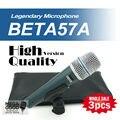 Бесплатная Доставка Оптовая Продажа 3 шт./лот BETA57 Профессиональной BETA57A Супер Кардиоидный Динамический Ручной Проводной Микрофон Beta 57A 57 Mic