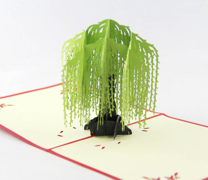Willow tree pop up card/3D  kirigami card/ handmade spring tree greeting cards