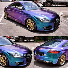Блестящая Алмазная цветная пленка голубого-фиолетового цвета, виниловая пленка для автомобиля, пленка для кузова автомобиля, пленка для выпуска воздуха FAMEWILL 1,52x20 м/рулон