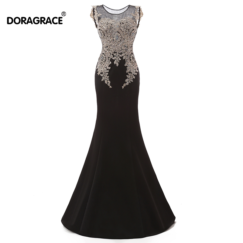 robe de soiree Romantic Sleeveless Floor-Length Applique Beaded Evening Dresses Long Gowns DGE008