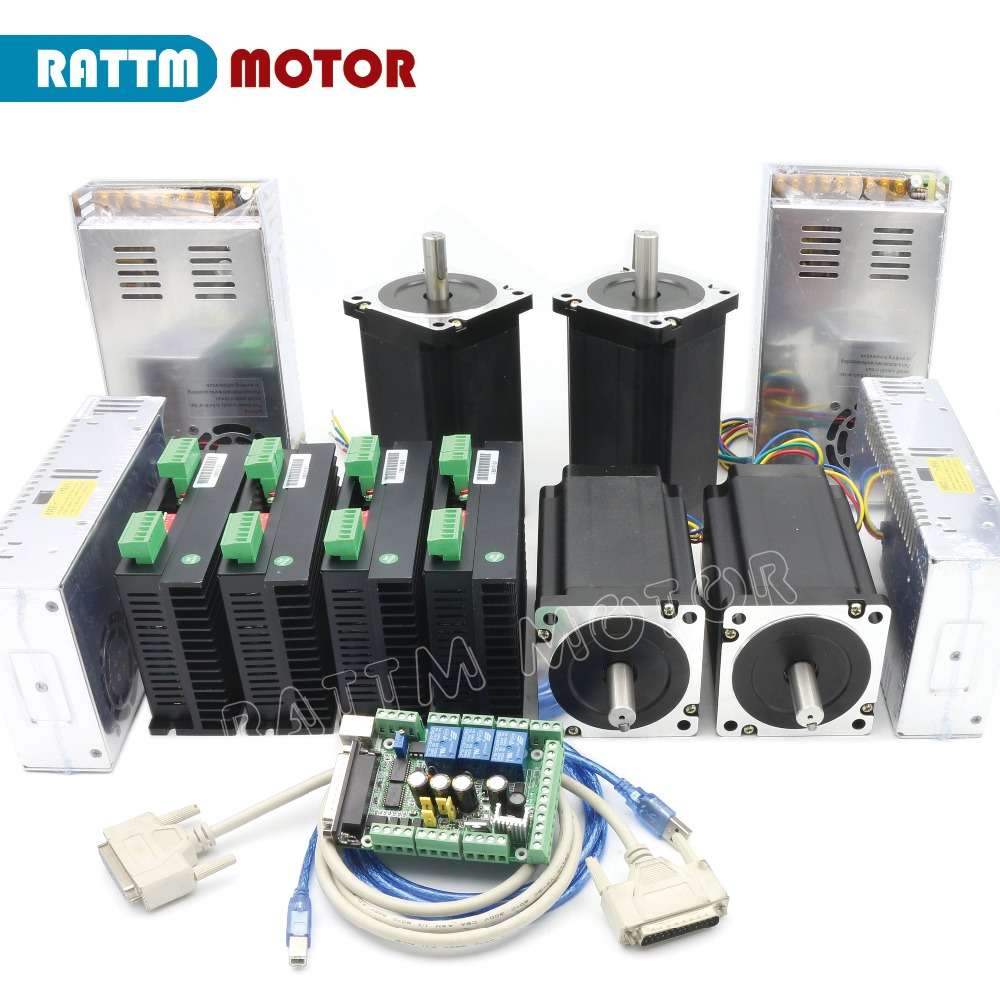 CNC 4 Axis Kit Nema34 stepper motor 1600 oz in Dul shaft 154mm 5A CW8060 80VDC