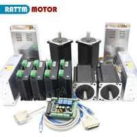 CNC 4 Axis Kit Nema34 stepper motor 1600 oz-in (Dul shaft ) 154mm 5A + CW8060 80VDC 6A motor driver + 145A 6 axis MACH3 board