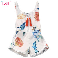 LZH Newborn Baby Clothes 2017 Summer Kids Baby Girls Romper Floral Print Sleeveless Jumpsuit Rompers For