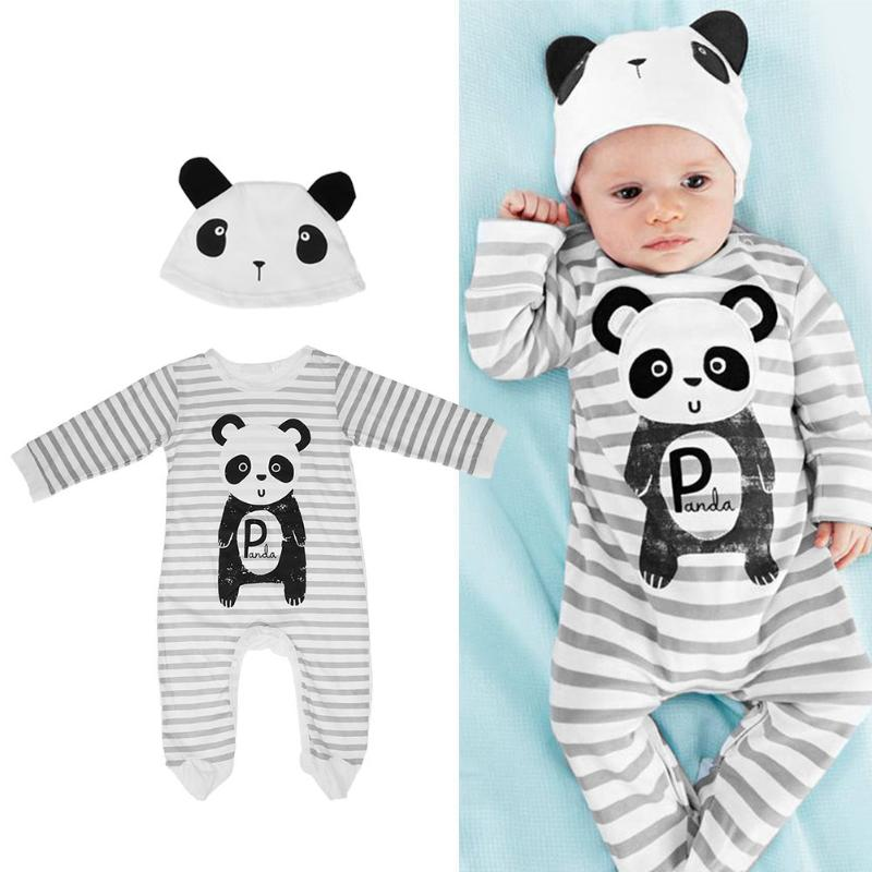 2pcs/set Newborn Baby Boys Girls Clothes Infant Cartoon Panda Lion Tiger Cow Print Long Sleeve Romper + Cap Outfit Kids Clothing baby boys clothes set 2pcs kids boy clothing set newborn infant gentleman overall romper tank suit toddler baby boys costume