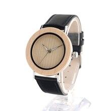 BOBO PÁJARO Combinado De Madera De Bambú de Acero Inoxidable Para Hombre Reloj de pulsera de Cuero Negro Reloj de Cuarzo