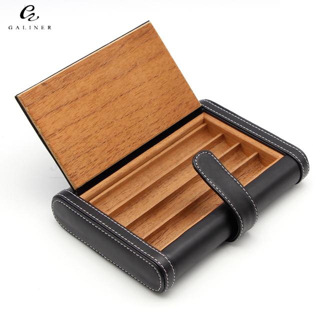 GALINER Design Portable Travel Cigar Humidor Holder Notebook Shaped 4 Tubes Cedar