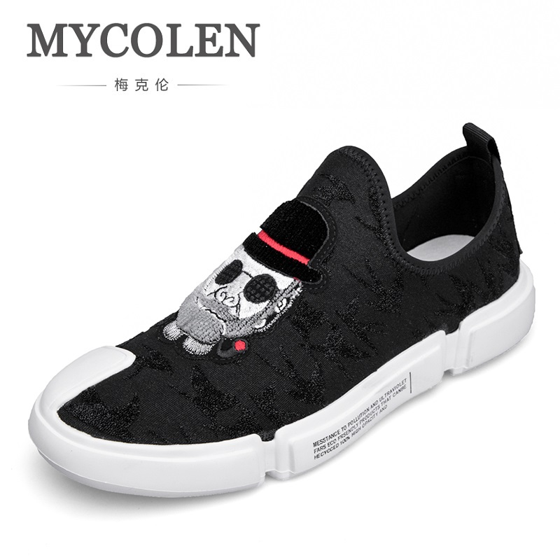 MYCOLEN 2018 The New Listing Men Canvas Shoes For Men Fashion Slip On Flats Brand Fashion Mens Casual Shoes Sapato Branco mycolen the new listing men shoes brand new fashion mens sneakers 2018 breathable elastic band casual shoes man sepatu pria