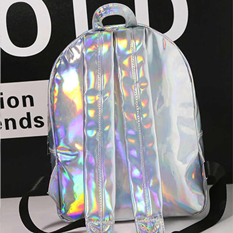 603548d52279 ... 2019 г. новые женские Голограмма Рюкзак лазерные рюкзаки для девочек  школьная сумка женский серебряный искусственная ...