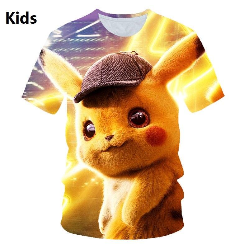 Pokemon Detective Pikachu 3D Printed Children   T  -  shirt   Fashion Summer Short Sleeve   T     shirt   2019 NEW Streetwear kids   T     shirts