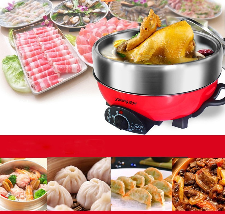 High Quality!! 304 Stainless steel hot pot 3L/5L household multi-function electric heating pan mini food cooker With steamer cukyi household electric multi function cooker 220v stainless steel colorful stew cook steam machine 5 in 1