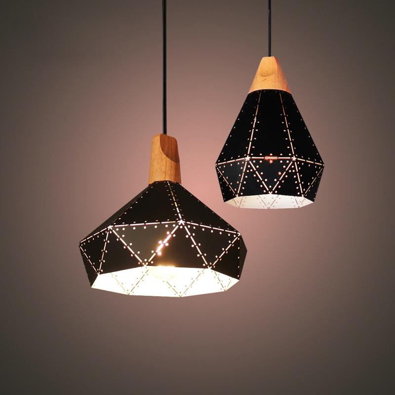 American Retro Vintage Loft Creative Origami Iro Wood Led E27 Pendant Light For Living Room Dining Room Bar Deco 1909 iro w15091464233