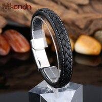 MKENDN FASHION Men Black Leather Bracelet Stainless Steel Magnetic Buckle Bracelets Bangles Male Punk Jewelry Pulseras