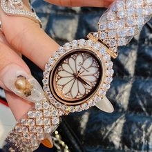 Luxury Ladies Quartz Watch Full Crystal Stones Women Clock Top Quality Bracelet Wristwatch ladies Crystal Coated Glass Watches(China)