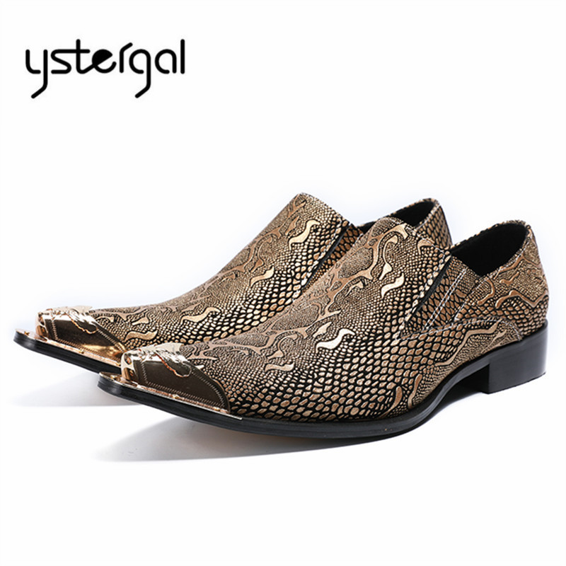 YSTERGAL Handmade Men Leather Shoes Mens Oxfords Business Prom Dress Shoe Metal Tip Male Flats Sapatos Masculino