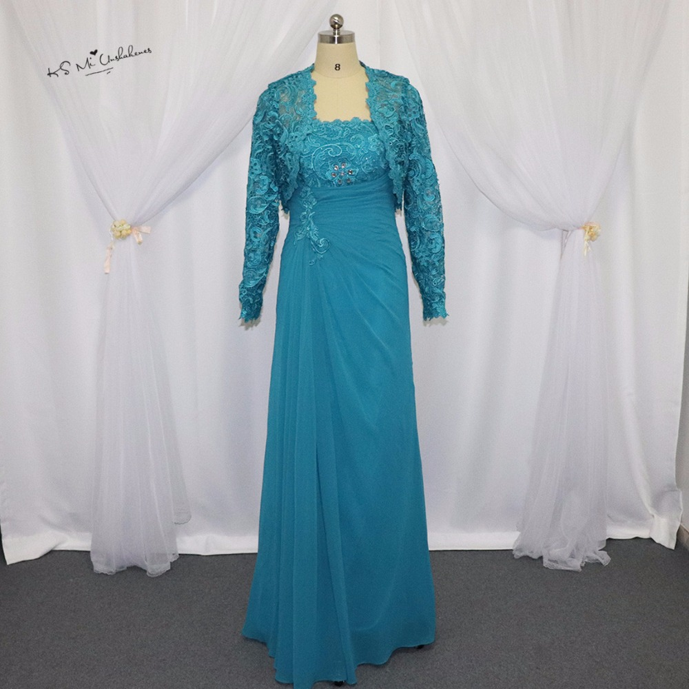 Online Shop Turquoise Mother of the Bride Chiffon Pant Suits Wedding ...