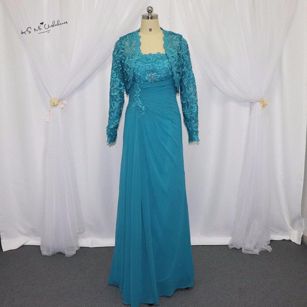 Turquoise mère de la mariée en mousseline de soie pantalon costumes de mariage grande taille Vestidos Madre de Novia longues robes de mère avec veste en dentelle